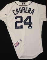 Miguel Cabrera Autographed Detroit Tigers Jersey - Home Authentic inscribed with Triple Crown Stats (Pre-Order)