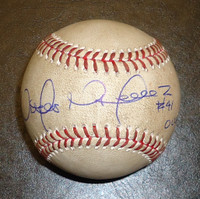 "Victor Martinez Autographed 2014 Game Used Baseball - Hit by Pitch inscribed ""Ouch!"""