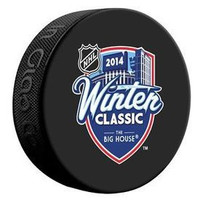 "Mark Howe Autographed 2014 Winter Classic Souvenir Puck Inscribed ""HOF 11"" (Pre-Order)"
