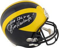 Jim Harbaugh Autographed Michigan Wolverines Helmet Go Blue