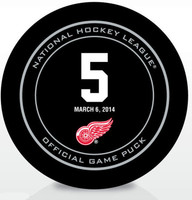 "Nicklas Lidstrom Autographed Red Wings Jersey Retirement Game Puck Inscribed ""HOF 15"" (pre-order)"