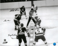 Gordie Howe, Mark Howe, and Marty Howe Autographed 16x20 Photo #3 - Hartford Whalers (Black and White)