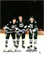 Gordie Howe, Mark Howe, and Marty Howe Autographed 16x20 Photo #1 - Hartford Whalers (Color)