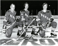 Gordie Howe, Mark Howe, and Marty Howe Autographed 11x14 Photo #2 - Houston Aeros