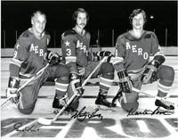 Gordie Howe, Mark Howe, and Marty Howe Autographed 11x14 Photo #2 - Houston Aeros