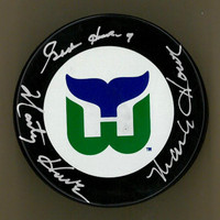 Gordie Howe, Mark Howe, and Marty Howe Autographed Hartford Whalers Puck