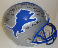 Barry Sanders Autographed Detroit Lions Pro Line Helmet with 6 Inscriptions