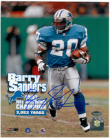 Barry Sanders Autographed Detroit Lions 8x10 Photo #2 - 2,053 Yards