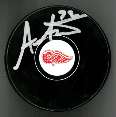 Andreas Athanasiou Autographed Detroit Red Wings Puck