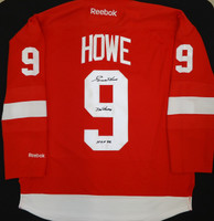 "Gordie Howe Autographed Detroit Red Wings Home Jersey with ""Mr. Hockey"" & ""HOF 72"""