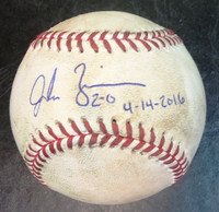 Jordan Zimmermann Autographed Game Used Baseball