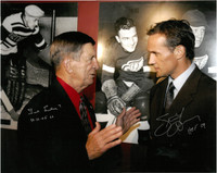 "Ted Lindsay and Steve Yzerman Autographed 16x20 Photo with ""HOF"" inscriptions"