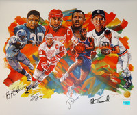 """Our MVPs"" Lithograph - Barry Sanders, Steve Yzerman, Joe Dumars, Alan Trammell - Autographed by All 4"