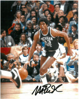 Magic Johnson Autographed MSU Spartans 8x10 Photo #3 - Dribbling Upcourt