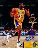 Magic Johnson Autographed LA Lakers 8x10 Photo #14 - 1996 Action