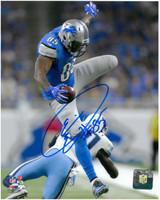 Eric Ebron Autographed Detroit Lions 8x10 #4 - Leaping a Defender
