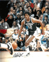 Magic Johnson Autographed MSU Spartans 16x20 Photo #5 - Dribbling Upcourt
