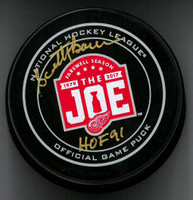 Scotty Bowman Autographed Farewell to the Joe Official Game Puck w/ HOF 91