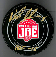 Nicklas Lidstrom Autographed Farewell to the Joe Official Game Puck w/ HOF 15