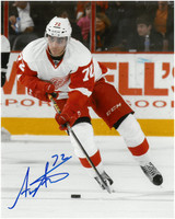 Andreas Athanasiou Autographed Detroit Red Wings 8x10 Photo #6 - Puck Handling