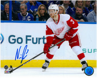 Nick Jensen Autographed Detroit Red Wings 8x10 Photo #2 - Waiting For The Pass