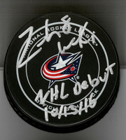 "Zach Werenski Autographed Columbus Blue Jackets Official Game Puck Inscribed ""NHL Debut 10/13/16"""