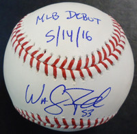 "Warwick Saupold Autographed Baseball - Official Major League Ball Inscribed ""MLB Debut 5/14/16"""