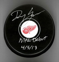 "Danny DeKeyser Autographed Red Wings Souvenir Puck Inscribed ""NHL Debut 4/5/13"""