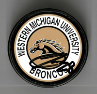 Luke Witkowski Autographed Western Michigan University Souvenir Puck