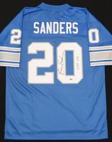 "Barry Sanders Autographed Detroit Lions Jersey - Blue Pro Line Inscribed ""HOF 04"""