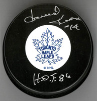 "Dave Keon Autographed Vintage Toronto Maple Leafs Puck Inscribed With ""HOF  86"""