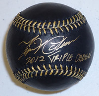 Miguel Cabrera Autographed Black Baseball with Triple Crown 2012