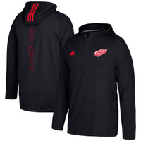 Detroit Red Wings Men's Adidas Black Authentic Training Quarter-Zip Pullover Hooded Jacket