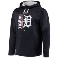 Detroit Tigers Men's Majestic Authentic Collection Team Icon Streak Fleece Pullover Hoodie - Home