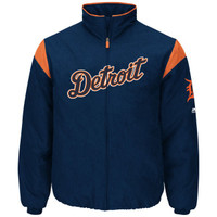 Detroit Tigers Women's Majestic Road On-Field Therma Base Thermal Full-Zip Jacket