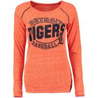 Detroit Tigers  Women's 5th & Ocean Orange Streaky Jersey Raglan Long Sleeve T-Shirt