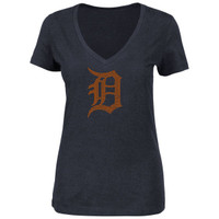 Detroit Tigers Women's Majestic Dream of Diamonds Logo V-Neck T-Shirt