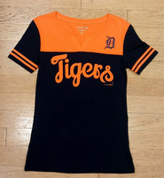 Detroit Tigers Women's 5th & Ocean Navy & Orange V-Notch T-Shirt