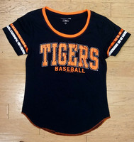 Detroit Tigers Women's 5th & Ocean Shimmer Foil Stripe T-Shirt