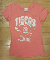 "Detroit Tigers Women's 5th & Ocean Pink ""Tigers Mom"" Heathered Scoop Neck T-Shirt"