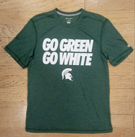 "Michigan State University Men's Champion ""Go Green Go White"" White Textured Font T-shirt"