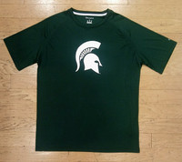 Michigan State University Men's Champion Large Spartan Head Green T-shirt