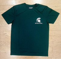 Michigan State University Men's e5 Small Spartan on Left Chest Green T-shirt