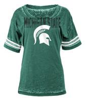 Michigan State University Women's 5th & Ocean Green Burnout T-shirt