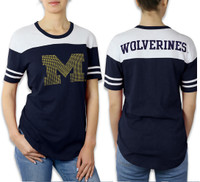University of Michigan Women's e5 Studded Logo T-shirt