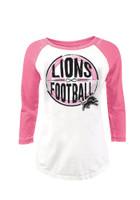 Detroit Lions Women's NFL Team Apparel 3/4 Length Sleeve Pink & White Shirt