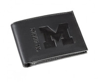University of Michigan My Evergreen Black BiFold Leather Wallet