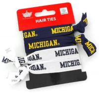 University of Michigan Aminco Elastic Hair Ties 4-PACK