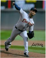 Anibal Sanchez Autographed Detroit Tigers 8x10 Photo #4 - Road Pitching (vertical)