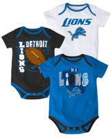 Detroit Lions Outerstuff Kid's 3 Piece Bodysuit Set